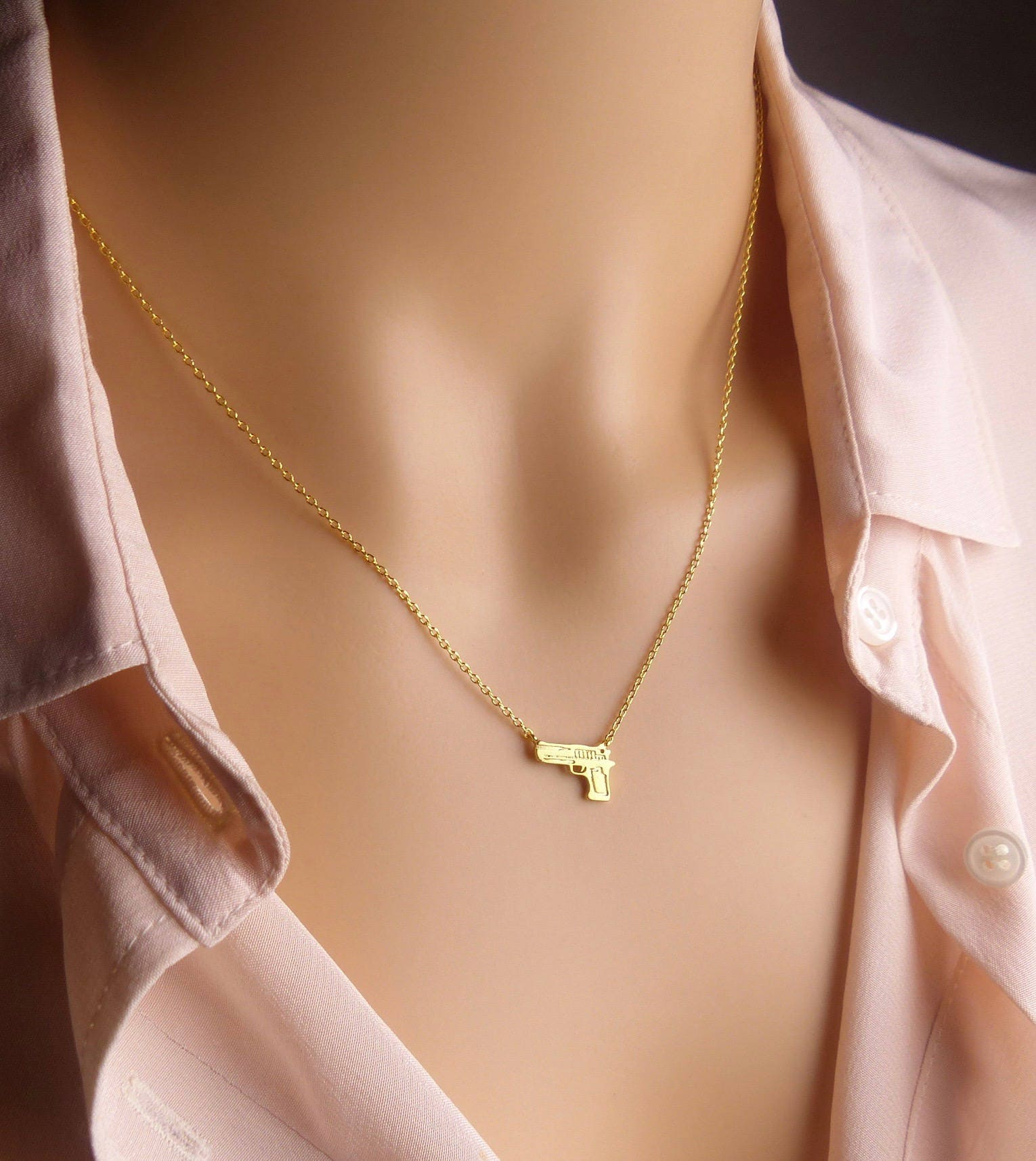 Bridesmaids Gift Gold Tiny Bullet Necklace Choker Second Amendment Ammo Gun Dainty Minimalist Jewelry Charm Gift for her Snake Chain