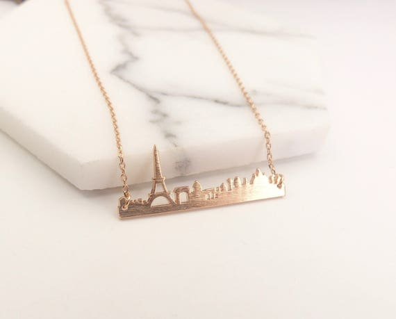 a beautiful gift 18ct gold Paris Skyline Necklace rose gold or silver