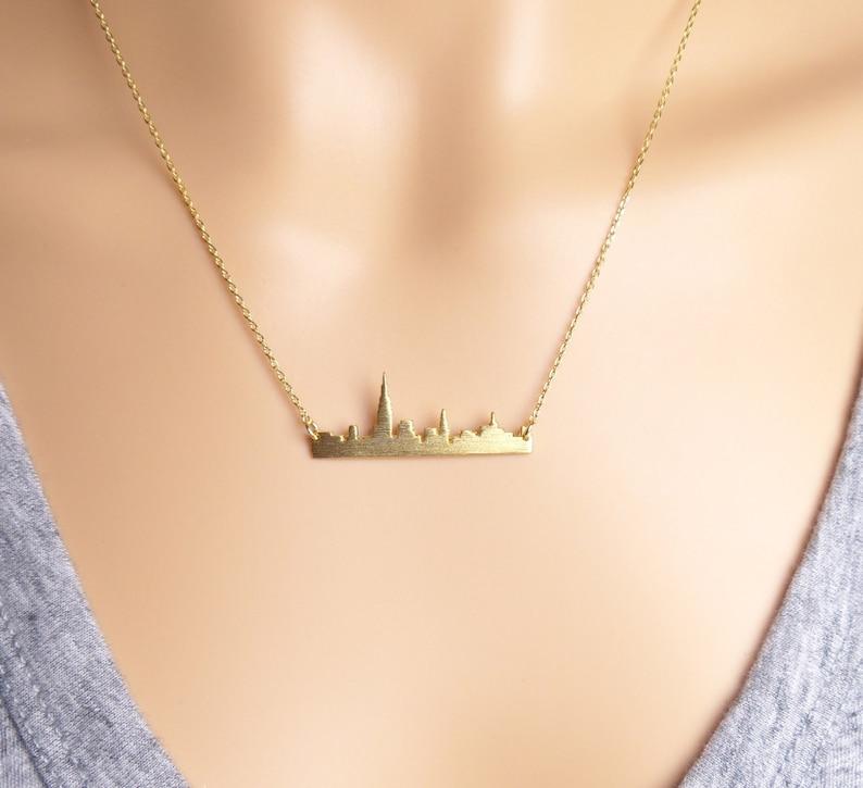 New York city skyline bar necklace NYC necklace/anniversary image 0