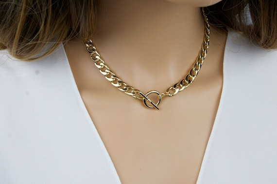 Chain Necklace  Chunky Chain Necklace  Curb Chain Choker  Cuban Link Necklace  Bold Curb Chain  Thick Chain Necklace  Curb Chain