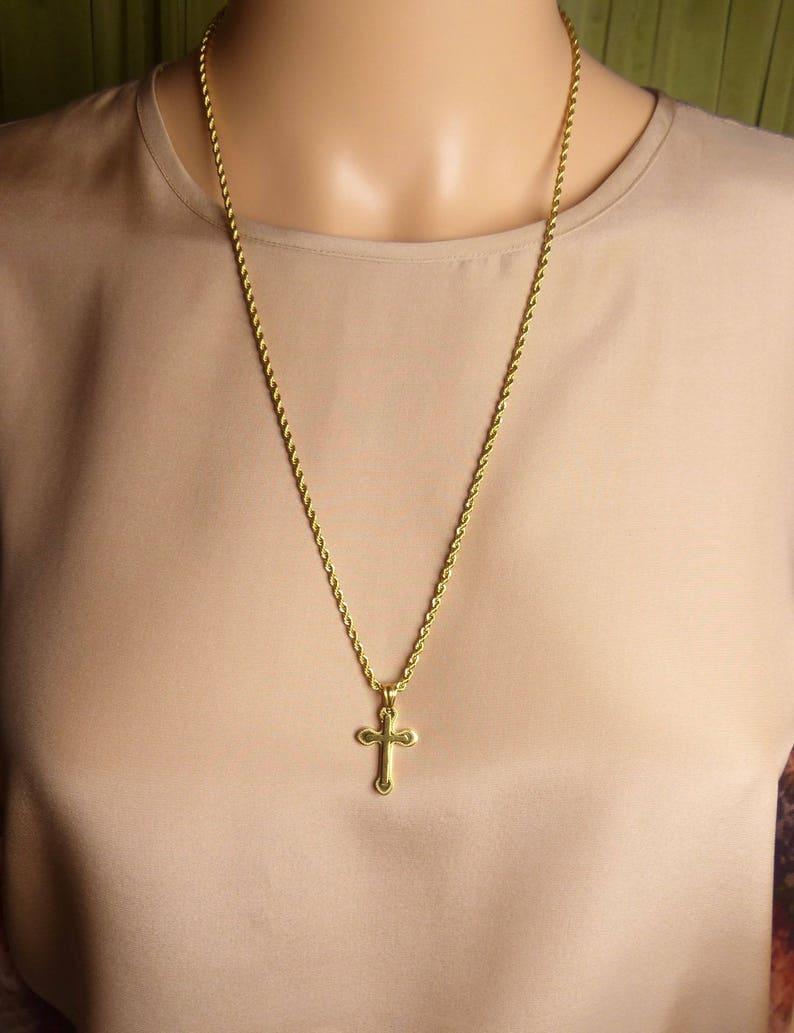 Necklace sale Gold Crucifix Cross necklace Religious Necklace Sale gold rope chain cross Necklace