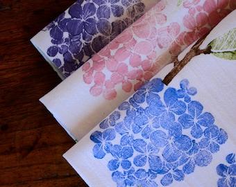 Hydrangea: Dish Towel, Hand Printed by Molly Thompson