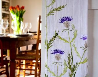 Thistle: Pretty Flours hand printed dish towel