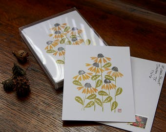 Note Cards featuring original handprinted artwork: Black-Eyed Susans