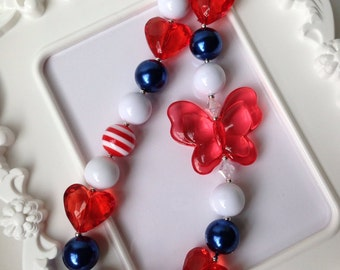 Fourth of July butterfly chunky necklace, Red white and blue chunky necklace