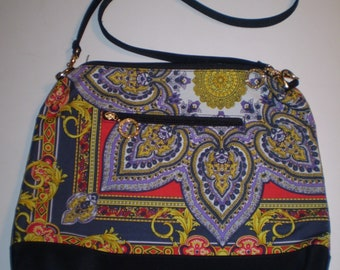 Versace Handbag Purse Paisly Gold   Blue Large Vintage Handbag Purse daf97079f3