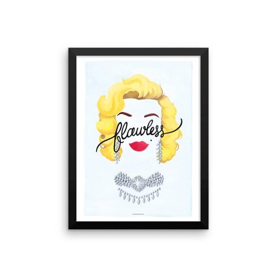 FRAMED Flawless Marilyn Monroe Poster Calligraphy Print | Etsy