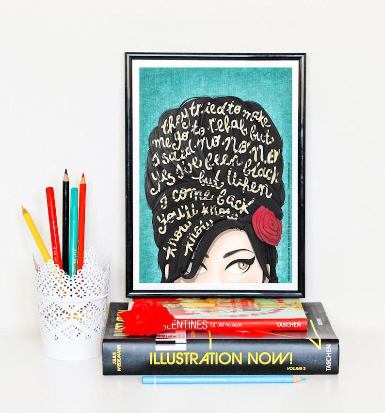 Rehab Amy Winehouse Music Poster Typography Lyrics Home image 0