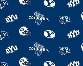 Brigham Young University Collegiate Cotton Fabric 1 Yard Sports Team 100% Cotton
