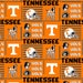 University of Tennessee Volunteers Vols Patch Cotton Fabric 1 Yard Sports Team 100% Cotton