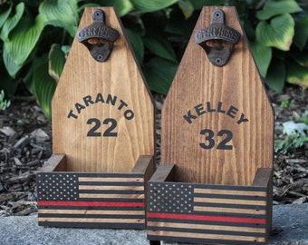GIFT FOR FIREFIGHTER Gift Fireman Gift Thin Red Line Flag Beer Bottle Opener Catcher Rustic Wood Cap Catcher