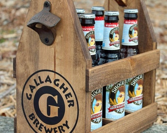 Rustic Wood Beer Tote - Beer Carrier - Beer Caddy - Man Cave - Brewery - Personalized 5-year Anniversary Gift Bottle Opener six pack