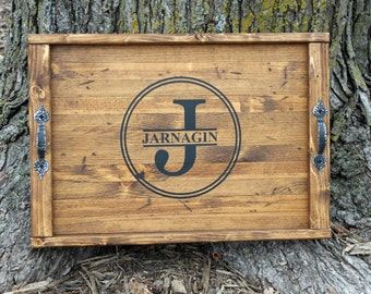 Personalized WEDDING GIFT Wood Tray Personalized Shower Gift 5 year Anniversary Gift Wooden Serving Tray Rustic Wood Tray