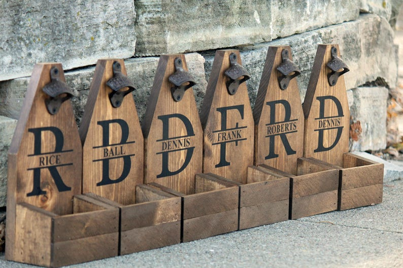 PERSONALIZED BEER Bottle Opener & Catcher Rustic Wood Brewery image 0