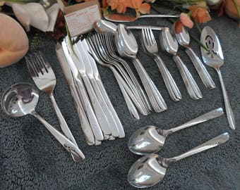 Mid-Century Modern Gold Plated Flatware Set Golden Carino by 1847 Rogers Bros 57 Pc Service for 8 Plus Serving Pieces