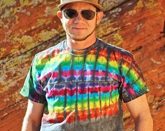 Tie Dye T-Shirt, Mens Size Shirt, Rainbow, Trippy Shirt, Hippie Festival Top