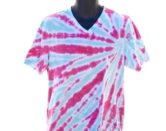Tie Dye V-Neck, Pink and Teal T-Shirt, Spiral Tie Dye Shirt, Psychedelic Mens V-Neck