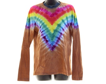 Tie Dye Ladies Long Sleeve, Trippy Rainbow Womens Shirt,