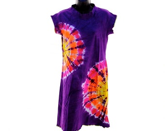 Tie Dye Dress, Raglan Sleeve Dress, Home Sewn Organic Cotton Clothes, Hippie Summer Clothing, Organic Cotton Dress
