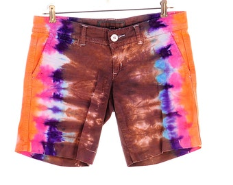 Upcycled Tie Dye Shorts, OOAK Repurposed Abercrombie and Fitch Shorts, Ladies Tie Dyed Bottoms, Recycled Hippie Clothes