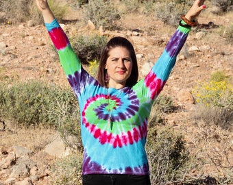 Tie dye Women's Medium Long Sleeve Top, Trippy Ladies Shirt, Hippie Fashion