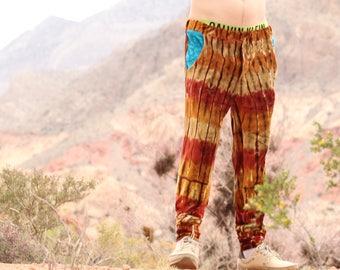 Tie Dye Mens Pants, OOAK Organic Bamboo Trippy Pants, Handmade Tiger Hippie Fashion