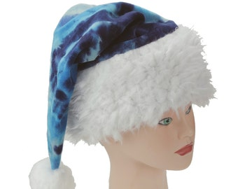 Tie Dye Santa Hat, Trippy Wizard Hat, Psychedelic Winter Hat, Organic Bamboo Velour Sleeping Cap