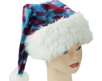Tie Dye Santa Hat, Pink and Teal Winter Hat, Trippy Christmas Cap, Psychedelic Holiday Hat