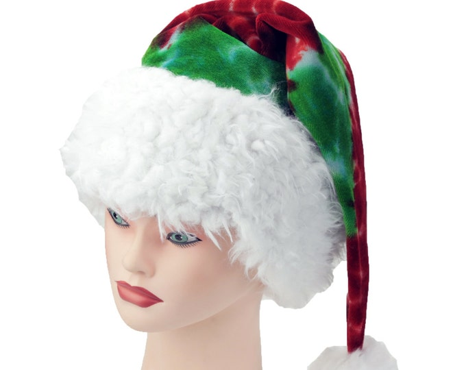 Featured listing image: Tie Dye Santa Hat Red and Green Holiday Sleeping Cap Organic Cotton