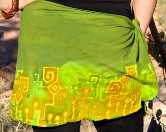 Batik Sarong, OOAK Handmade Microchip Beach Wear, Trippy Bathing Suit Cover, Futuristic Hippie