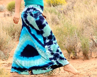 Tie Dye OOAK Ladies Skirt, Seed of Life OOAK Skirt, Trippy Blue Flowy Organic Bamboo Fashion