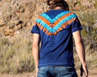 Tie Dye V-Neck, OOAK T-Shirt, Spiral Tie Dye Shirt, Psychedelic Mens V-Neck