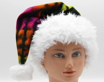 Tie Dye Santa Hat, Christmas Cap, Organic Bamboo Velour Winter Wear, Trippy Holiday Hat