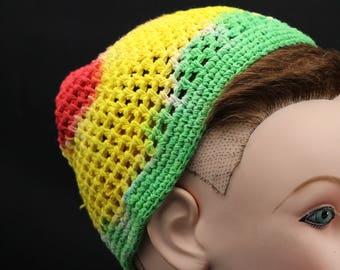 Tie Dye Crochet Kufi, Trippy Rasta Beanie, Hippie Jamaican woven hat