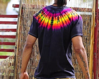 Tie Dye T-Shirt, Trippy Hippie Clothing, Funky Mens Crew Neck Shirt