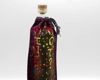 Batik Wine Bag, OOAK Trippy Bottle Cover, Hippie Gift, Funky Fun Gift