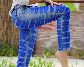 Tie Dye UPCYCLED Pants, Trippy Ladies OOAK Clothes, Hippie Blue size 8 jeans
