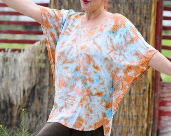 Tie Dye Loose Fitting Plus Size Top, Trippy Hippie OOAK Flowy Clothes