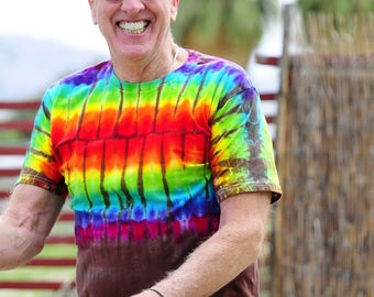 Tie Dye Long T-Shirt, Trippy Urban clothing, Hippie Long Back Mens Shirt, Rainbow Festival Clothes