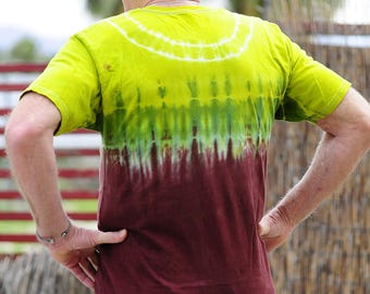 Tie Dye Long T-Shirt, Trippy Urban clothing, Hippie Long Back Mens Shirt