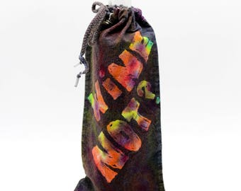 Batik Wine Bag, OOAK Trippy Rainbow Bottle Cover, Hippie Gift