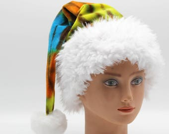Tie Dye Santa Hat Organic Bamboo Velour Holiday Hat