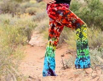 Tie Dye Yoga Pants, Trippy Workout Clothes, Rainbow Hippie American Apparel Workout Pants, Rainbow Galaxy Loungewear