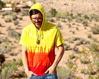 Tie Dye Short Sleeve Hoodie, Trippy Hooded Tee, Fire T-Shirt with Hood and Pocket, Hippie Clothing