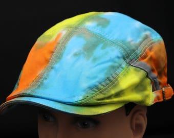 Tie Dye Flat Driving Samuel L Jackson Hat, OOAK Southwest Sunrise Fishing Hat