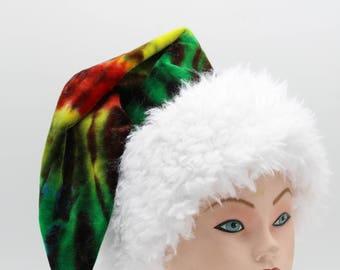 Tie Dye Santa Hat Rasta Organic Bamboo Velour Holiday Hat