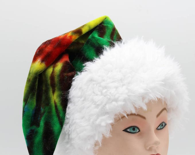 Featured listing image: Tie Dye Santa Hat Rasta Organic Bamboo Velour Holiday Hat