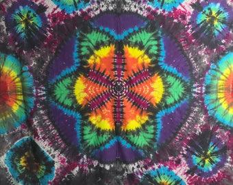 Tie Dye Tapestry, Seed of Life Wall Art, Trippy OOAK Hand dyed Sacred Geometry