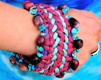 Paracord Bracelet with Turquoise and Mookaite, Chunky Pink Bracelet, Handmade Paracord with Stones, Healing Energy Bracelet, Pink and Teal