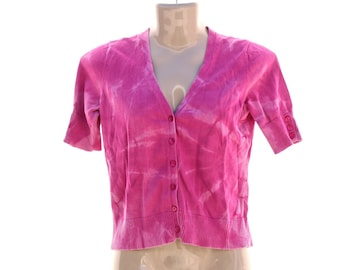 Upcycled Tie Dye Seater Top, OOAK repurposed Ann Taylor Loft Top, Recycled Hippie Cardigan, Trippy Pink Button Up